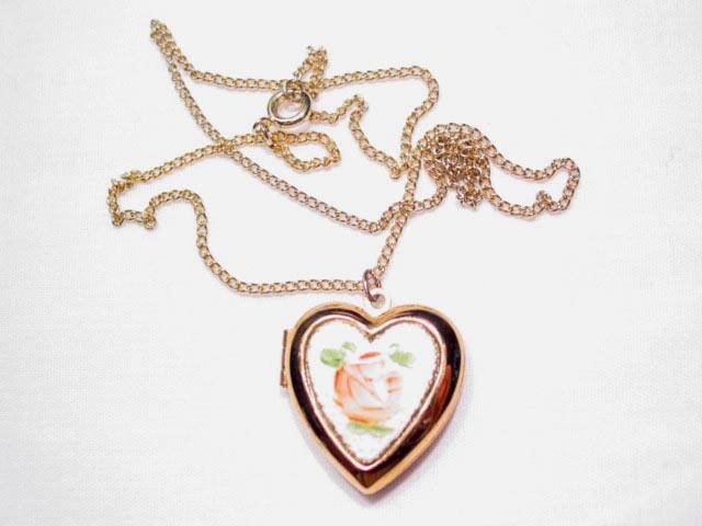 Enameled Heart Locket Necklace