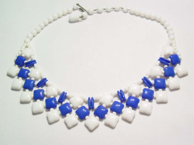 Blue and White Glass West German Collar Necklace
