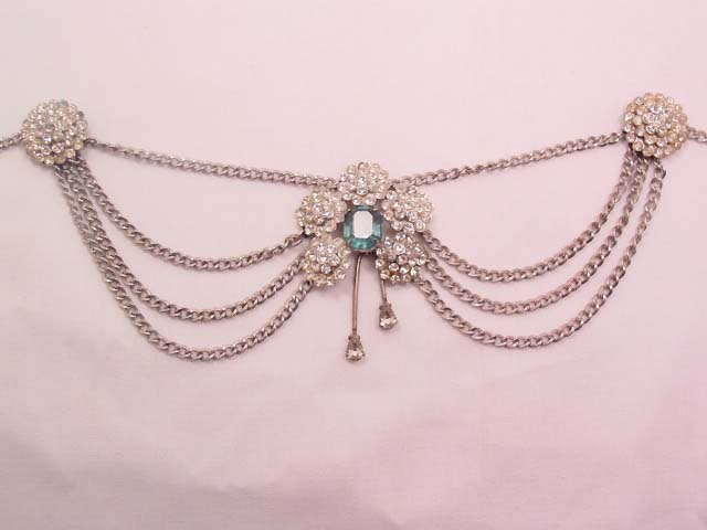 Beautiful Sterling and Rhinestone Dangling Necklace