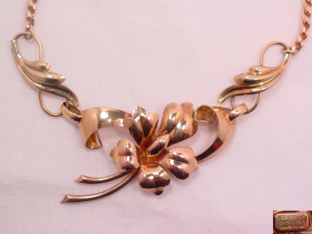 Carl Art Sterling and Gold Content Flower Necklace