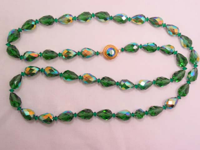 Heavy Pear-Shaped Dark Green Aurora Borealis Necklace