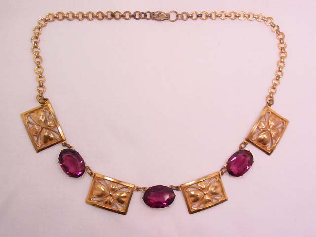 Amethyst and Dogwood Antique Necklace