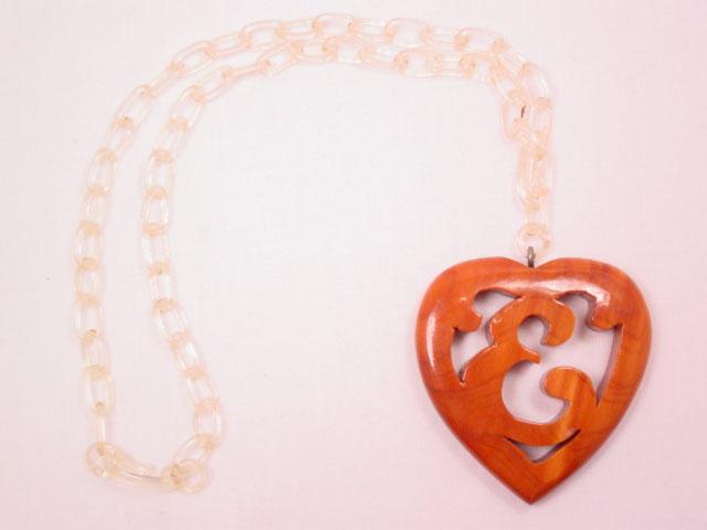 "Wooden Heart ""E"" Necklace"