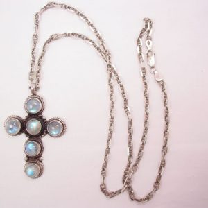 Beautiful Sterling Cross Necklace with Opal-Like Natural Stones