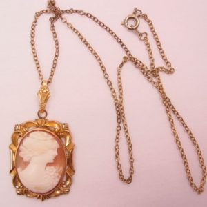 Gold-Filled and Real Shell Cameo Locket Necklace
