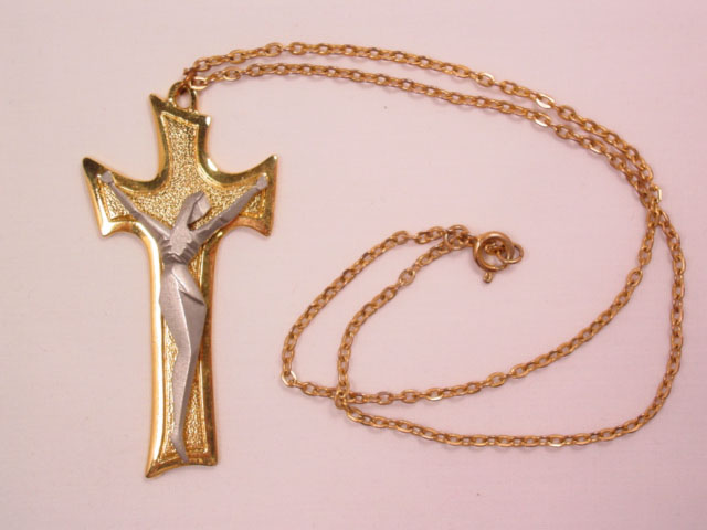 Modernistic Pewter and Goldtone Crucifix Necklace