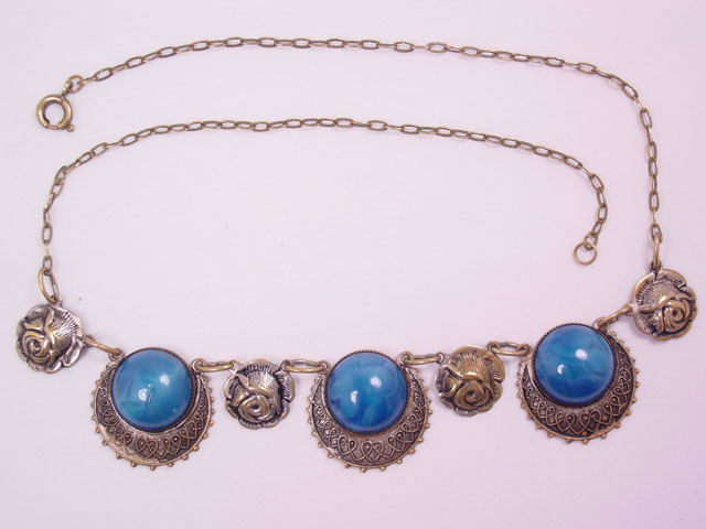 Blue Stone and Roses Necklace