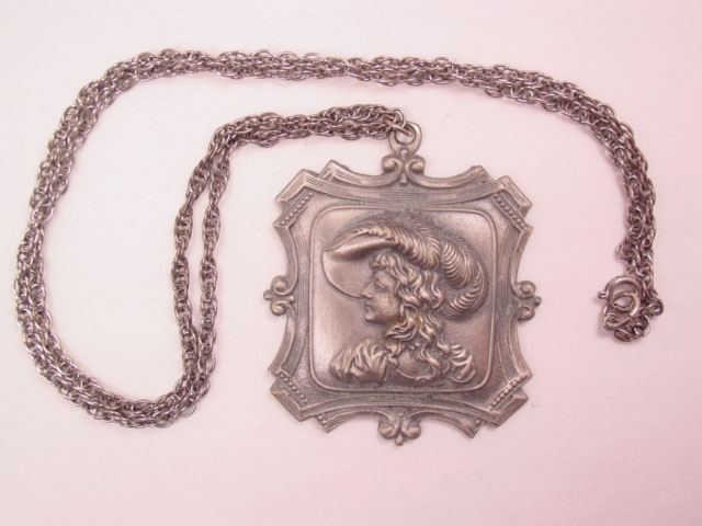 Fancy Square Pewter Cameo Necklace
