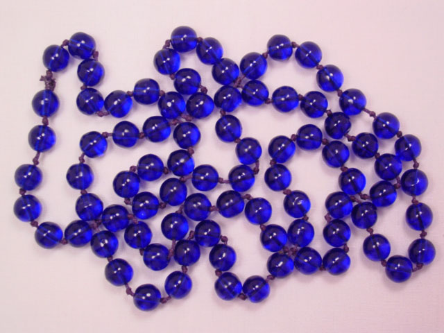 Long Cobalt Blue Glass Bead Necklace
