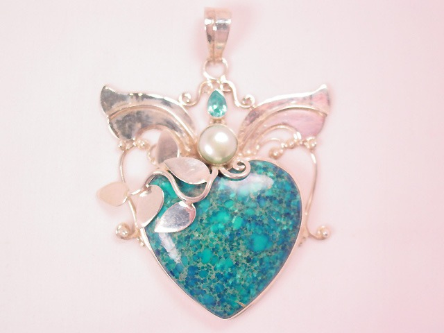 Huge Sterling and Turquoise Heart Pendant