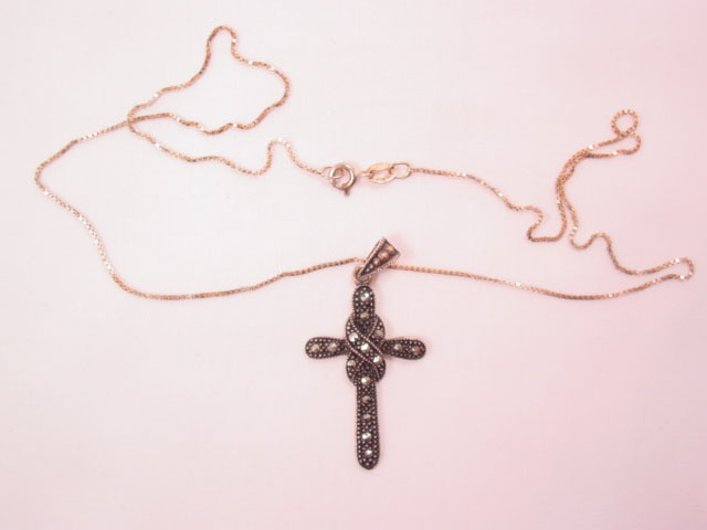 Sterling and Marcasite Twist Cross Necklace