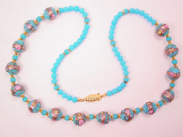 Stunning Bright Blue Venetian Bead Necklace