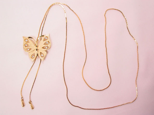 Brushed Butterfly Slider Necklace