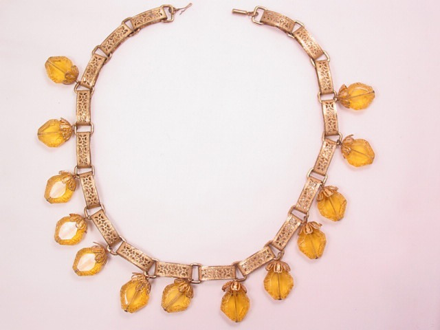 Old Filigree and Citrine-Colored Necklace