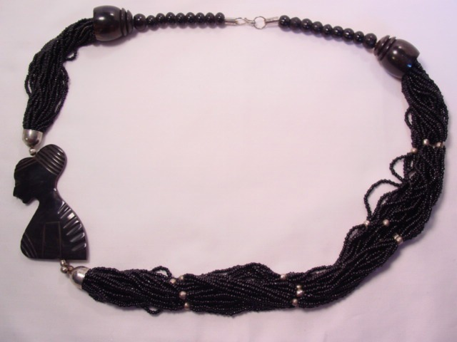 Black Glass Bead and Woman Silhouette Necklace