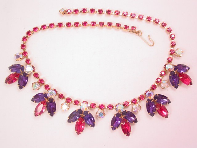 Beautiful Purple, Magenta and Aurora Borealis Necklace