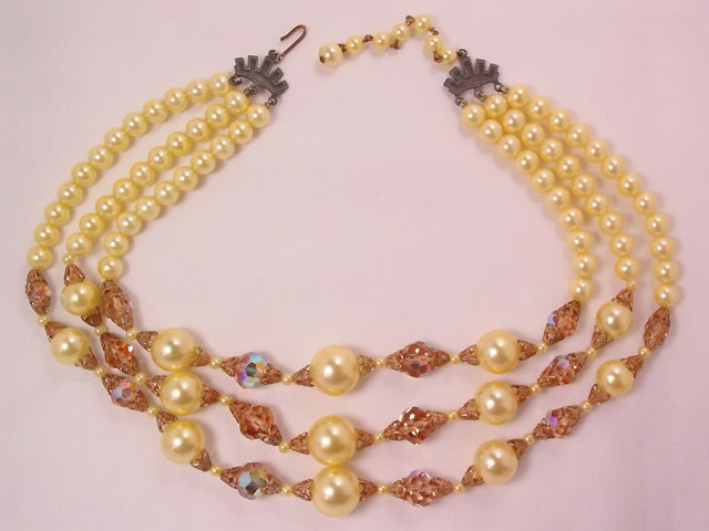 Yellow Pearls and Beige Aurora Borealis Necklace