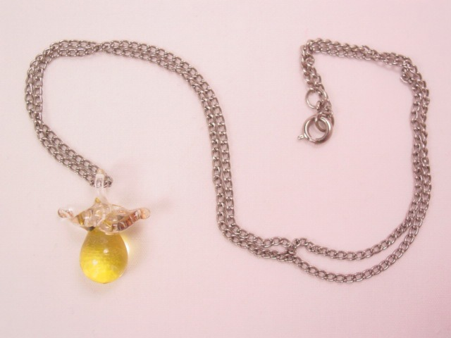 Blown Glass Pear Necklace