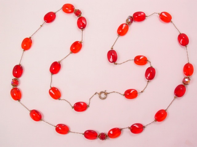 Old Red Glass Necklace Strung on Chain