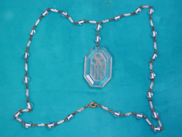 Vintage Czechoslovakian Oblong Octagon Crystal Intaglio Necklace