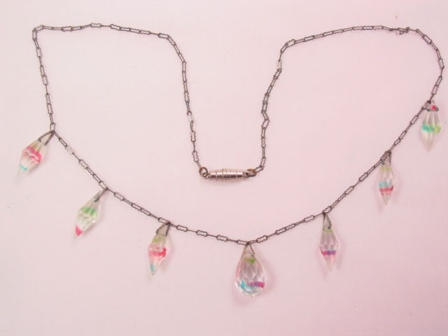 Delicate, Rainbow-Striped Crystal Necklace