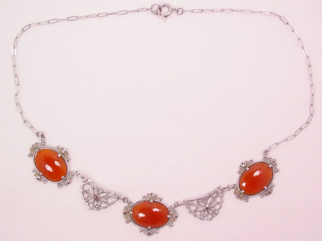 Carnelian and Marcasite Filigree Necklace