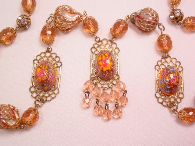 Peach Glass and Venetian Necklace