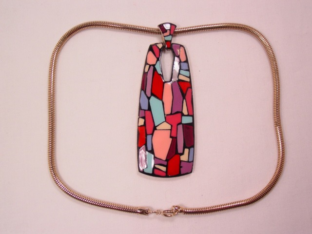Beautiful Dali-Style Pinks, Lavenders, and Blues Eisenberg Necklace