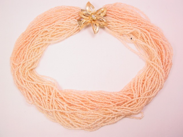 Beige and Peach Seed Bead Necklace