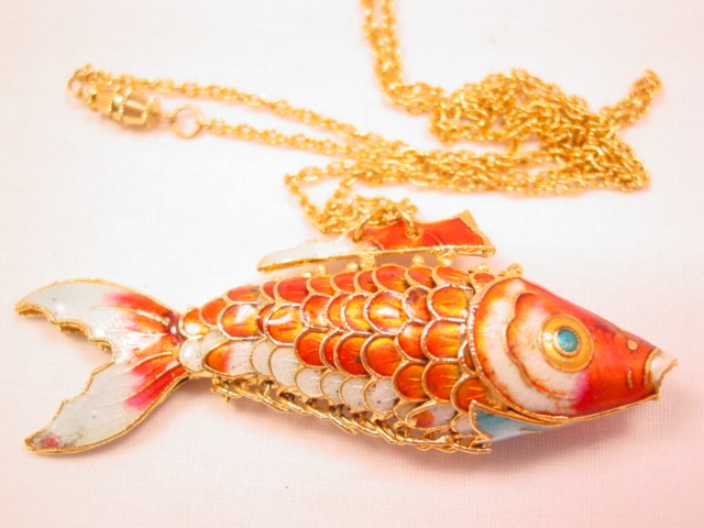 Beautiful Enameled Articulated Fish Necklace