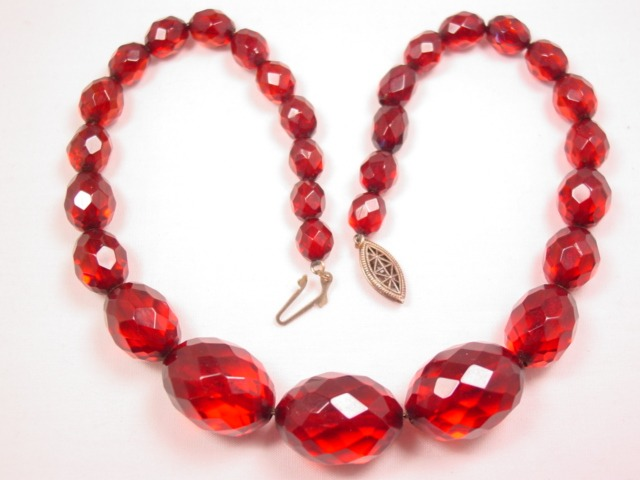 Faceted Cherry Amber Bakelite Necklace