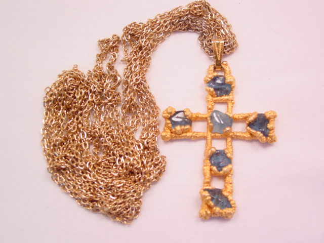 Polished Blue Natural Stone Cross Necklace