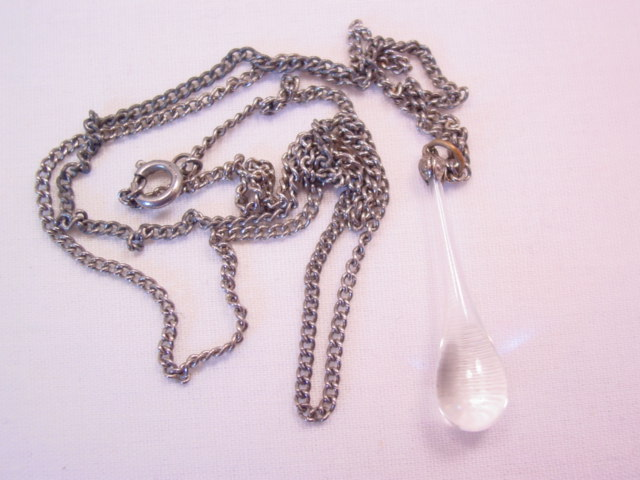 Clear Blown-Glass Drop Necklace