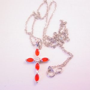 Avon Deep Orange-Red and Clear Rhinestone Sterling Cross Necklace