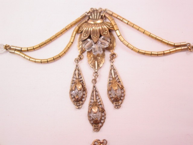 Beautiful Old Crystal Floral Gold-Filled Necklace