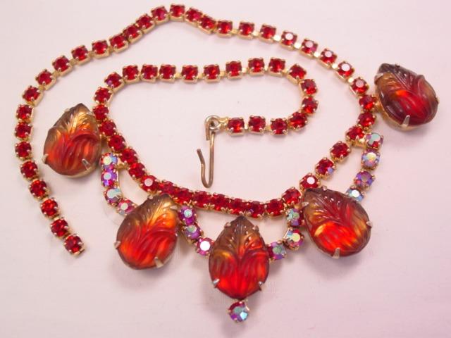 Beautiful Red and Cream Fruit Salad Rhinestone Necklace