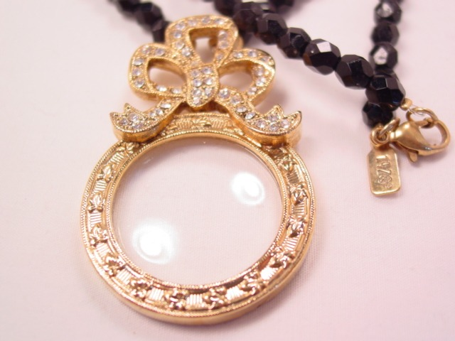 1928 Magnifying Pendant and Black Glass Necklace