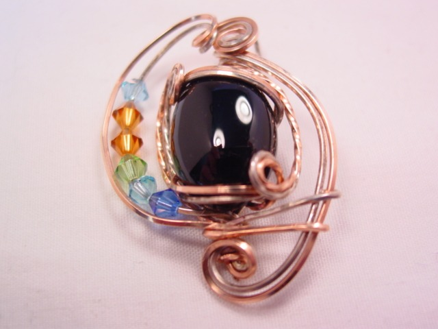 Hand-Crafted Wire and Black Glass Pendant