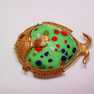 Green Enamel Spotted Fish Pin
