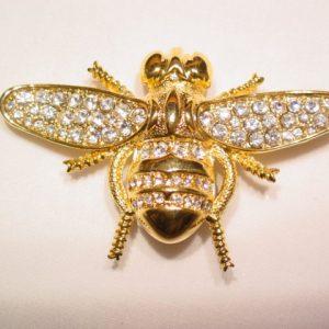 Glittery Rhinestone Bee Pin