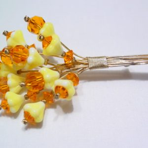 Yellow and Orange Glass Bouquet Pin