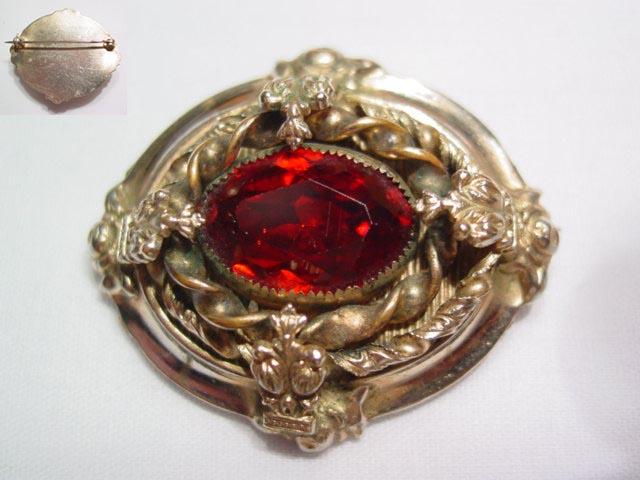 Vintage Garnet-Colored Brooch