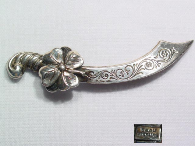 Beau Sword and Four-Leaf Clover Pin
