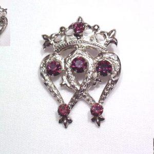 WBS Purple Rhinestone Hearts and Crown Pin