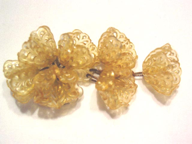 Yellow Filigree Plastic Flower Pin