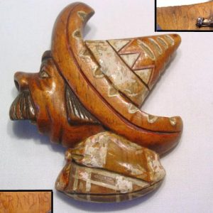 Carved Wooden Mexican Man in Sombrero Pin