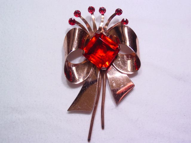 Sterling Red Rhinestone Bow Pin