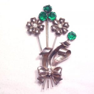 Sterling Green Rhinestone Floral Pin
