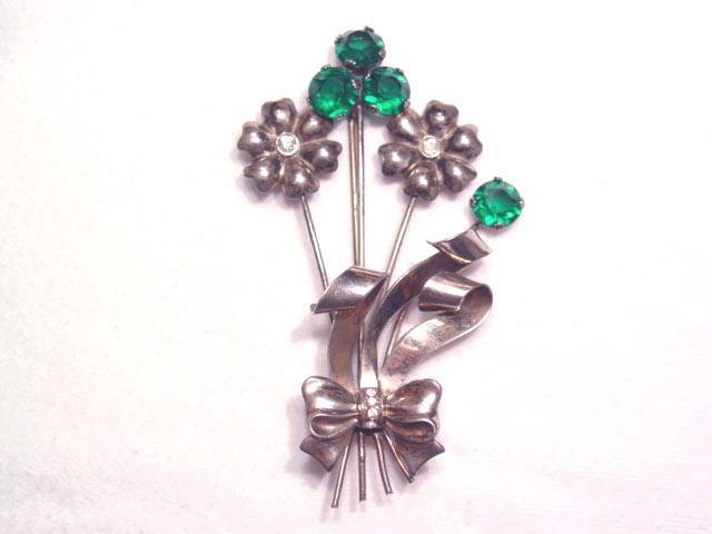 Sterling Green Rhinestone Floral Pin