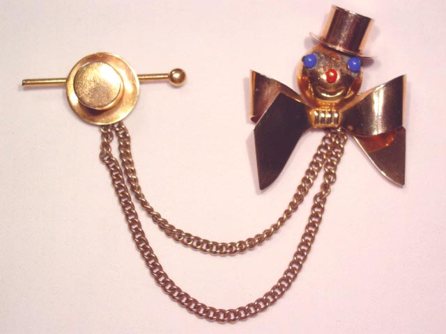 Clown and Top Hat Sweater Pin Set